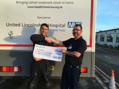 Chris Newton and Billy White with their cheque