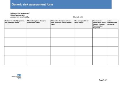 Item 13 2 Risk Management Policy Endix Ii Generic Essment Form Draft May 2018