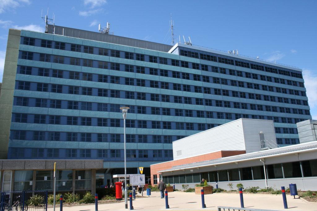 Photograph of the front of Pilgrim hospital. JPEG