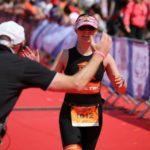 Alice Davies competing in the Transylvanian triathlon