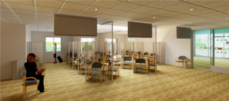An image of the new socially distanced waiting areas