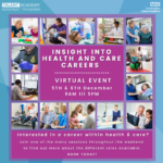 Poster for Insight Into Health and Care Careers virtual event