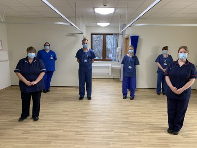 Ward Sister, Cheryl Butler (front left), and Matron, Donna Gibbins (front right), in one of the new bays on the ward.
