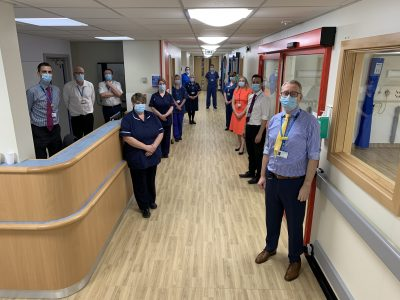 Chief Executive, Andrew Morgan, with Ward Sister, Cheryl Butler, and some of the team involved in the £1million transformation of Dixon Ward at Lincoln County Hospital.