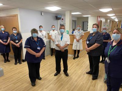 Professor Jonathan Van-Tam is pictured with some of the staff from Dixon Ward during a visit to officially open their new gastroenterology day case suite