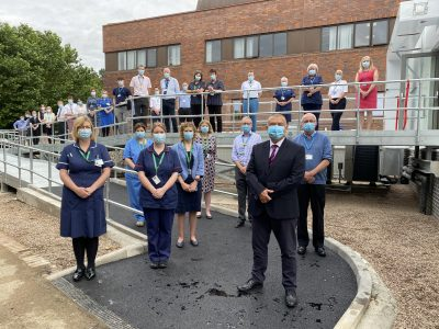 Professor Jonathan Van-Tam with staff as he opens a new £4.5 million specialist respiratory unit for Lincolnshire patients.